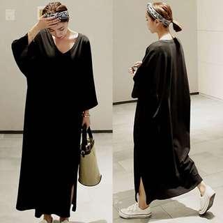 (M~XL) 2018 Spring Cotton V-neck T-shirt dress female split Korean dress