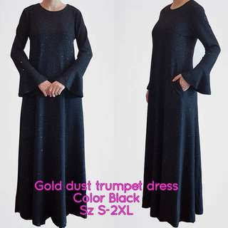 Exclusive gold dust trumpet dress bf friendly