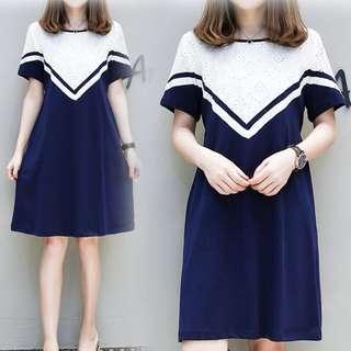 (XL~5XL) 2018 summer women's embroidery stitching long dress