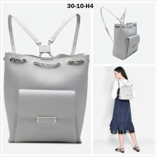 Charles and keith light grey blue chain backpack