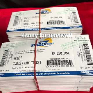 SALE SINDO 2 WAY PHYSICAL OPEN FERRY TICKETS.( FOR INDONESIAN PASSPORT ONLY)