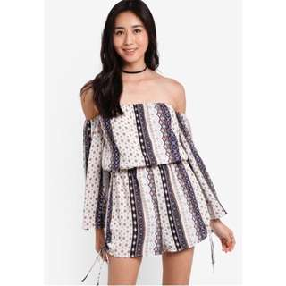 Something Borrowed Off Shoulder Tribal Romper