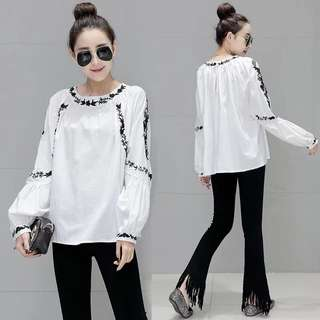 (M~2XL) Shirt female long-sleeved spring loose lantern sleeve embroidery casual shirt