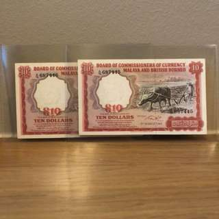 Running Pair Of 1961 Buffalo $10 notes