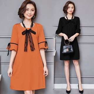 (L~5XL) Spring new Korean version of the long paragraph ages dress
