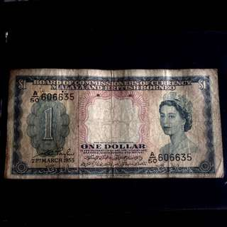Malaya British Borneo Currency One Dollar