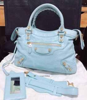 Balenciaga town bag seasonal baby blue colour gold hardware