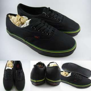 Sepatu Kets Vans Authentic Hemp Pack Rasta Full Black Line Green Hitam