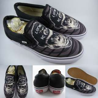 Sepatu Kets Vans Slip On Smoking Ape Canvas Black Bronze Hitam