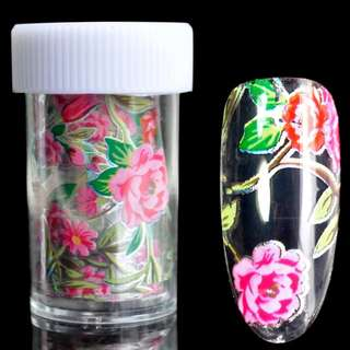 Holographic Nail Art Foil Rose Red Flower Pattern Glue Transfer Nail Decal Decoration Green Leaf Sticker Roll 1 meter
