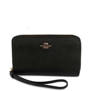 Coach Leather Wallet Clutch Black 黑色長銀包 58053 美國代購