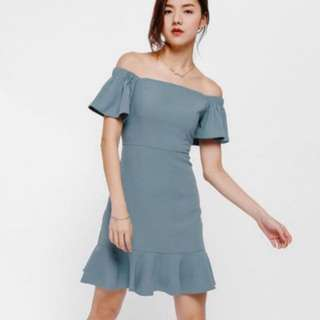 Looking for Haylia Off Shoulder Ruffle Hem Dress Size M