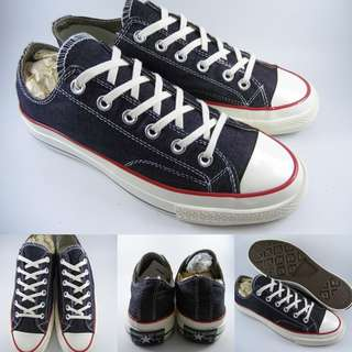 Sepatu Kets Converse Allstar Chucktaylor 70s Seventies Denim Low Black White Hitam