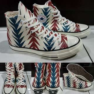 Sepatu Kets Skate Converse Allstar 70s Chucktaylor Chili Paste Canvas High Krem Blue Red