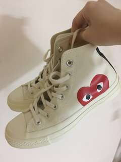 CDG play converse chuck taylor high cut white sneakers