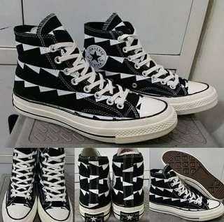 Sepatu Kets Converse Allstar Chucktaylor 70s Seventies Archive Print High Black White Hitam Putih