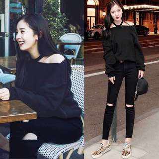 (S~5XL) Spring and summer Korean version of the hole high waist jeans women loose nine pants