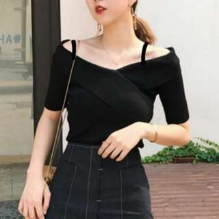 Korean Off Shoulder Black Top