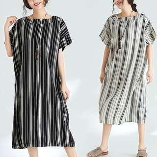 Plus Size casual Summer new women Korean word shoulder striped dress
