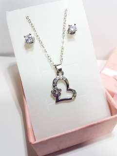 Sliver Crystal Flower Heart Shape Necklace and Earrings Set