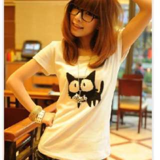 Ulzzang Cat Tshirt; casual; T shirt Tee; Korean kpop jpop; student studying; woman women female girl ladies lady;