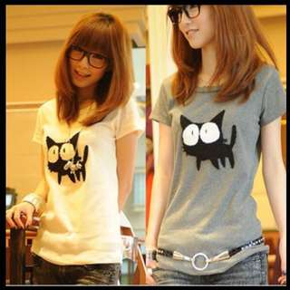 Cute black cat with big eyes shirt; Tshirt Tee T; Kpop Korean Jpop wave Kwave; short sleeve; white grey monochrome; trendy fashionable stylish cute adorable; woman women girl lady ladies teenager youth young; casual