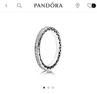 PANDORA 銀戒指 密鑲寶石 細緻心形 全新正貨 [原價$699]