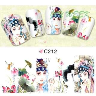 Water sticker for nails art all decorations sliders Chinese ancient Beijing opera Nail Wraps Sticker Fingernails Decals manicure