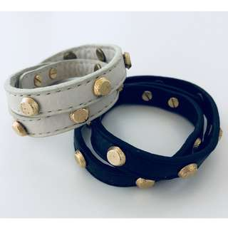 Leather Bracelet w Gold Studs