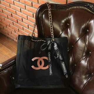 Chanel Chain Mesh Pink Tote Bag