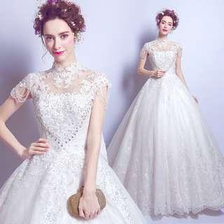 2018天使嫁衣婚紗禮服新款 奢華蕾絲水晶花朵公主新娘修身齊地婚紗禮服