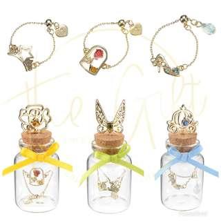 日本迪士尼 公主系列 手鍊連玻璃瓶 貝兒 ariel 灰姑娘