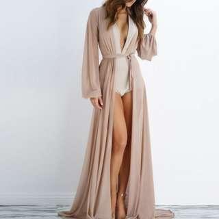 Sheer Maxi Wrap Dress