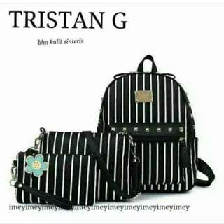 Paket tas 3in1 backpack sling bag wallet tristan garis hitam