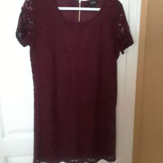 Maroon Mini Lace Dress