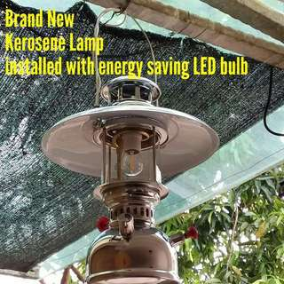 Antique Kerosene Oil Lamp fitted with LED energy saving decorative classic warm indoor outdoor garden wall lamp light lantern, go well with old furniture cabinet table and chairs