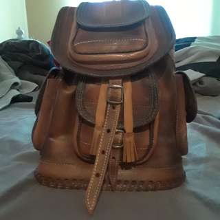 Real leather mini backpack
