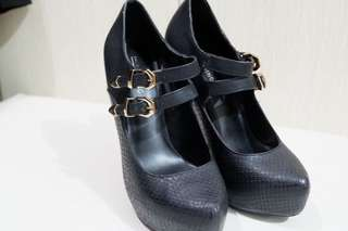 Call It Spring Mary Jane Heels with Gold Buckle