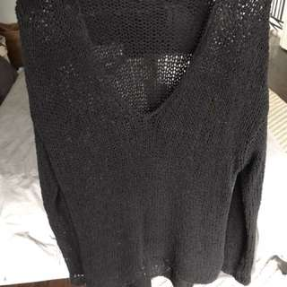 Helmet Lang looped Black sweater, Sz P