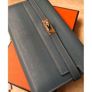 Hermes Kelly Wallet Epsom Clutch Long Palladium Hardware