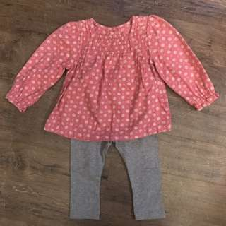 Mothercare Set - Long Sleeved Top with Gray Leggings (9-12 months)