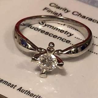 GIA證書40份F色VS2 18k白金天然鑽石戒指