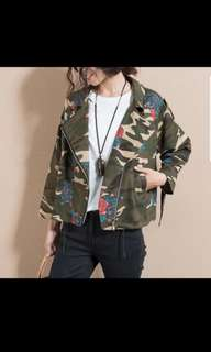 Army print camo outwear / jacket with rose embroidery