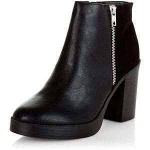 New Look Black Chunky Block Heel Ankle Boots