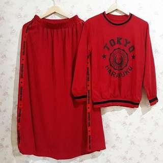 BL - 0318 - Setelan Santai Wanita tokyo set Plus Rok