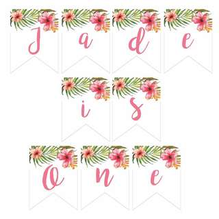 Customised Tropical First Birthday Bunting