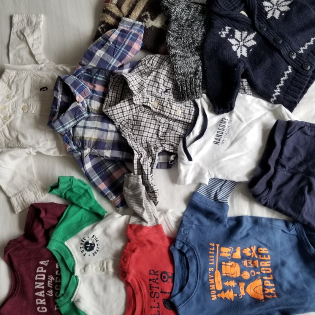 0-3 mth carters Practically new. 12 items. 3 sweaters. 1 pants. 6 short and long sleeved onesies amd 2 shirts. NEW. Entire lot purchased for $158 at Carters. Selling for $3/item. Pick up beaches or yorkville.