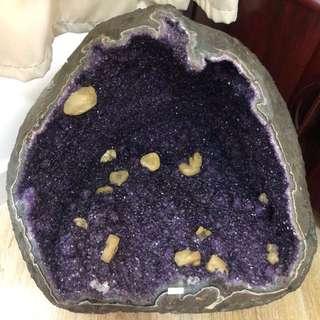 非賣品 烏拉圭紫晶洞帶瑪瑙邊黃色方解共生 61.8kg