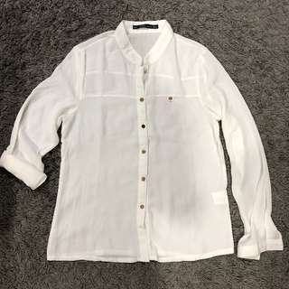 Kerr Collection Size M White Translucent Long Sleeve Shirt Tops