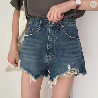 HIGH WAIST DENIM SHORTS